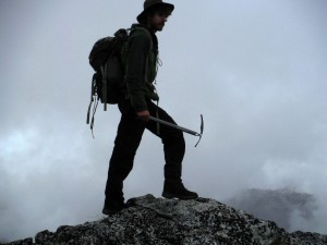 Adam Shoalts, 2015, at the summit of a peak in British Columbia.